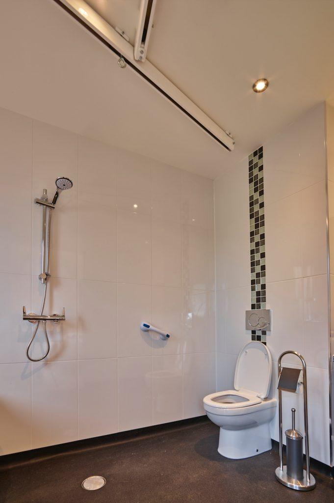 Onyx bathroom showing ceiling tracking hoist